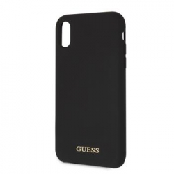 GUHCI61LSGLBK Guess Silicone Gold Logo Pouzdro Black pro iPhone XR