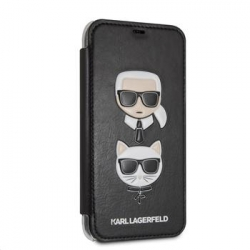 KLFLBKI61KICKC Karl Lagerfeld Karl and Choupette Book Pouzdro Black pro iPhone XR