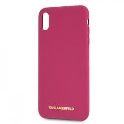 KLHCI61SLROG Karl Lagerfeld Gold Logo Silicone Case Fushia pro iPhone XR
