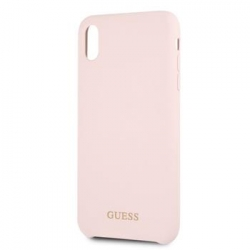 GUHCI65LSGLLP Guess Silicone Gold Logo Pouzdro Light Pink pro iPhone XS Max