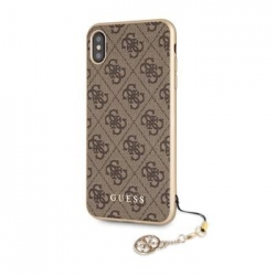 GUHCI65GF4GBR Guess Charms Hard Case 4G Brown pro iPhone XS Max
