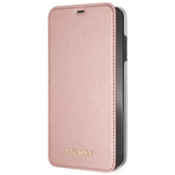 GUFLBKI65IGLRTG Guess PU Leather Book Case Iridescent Rose Gold pro iPhone XS Max
