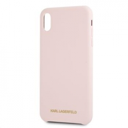 KLHCI65SLLPG Karl Lagerfeld Gold Logo Silicone Case Pink pro iPhone XS Max