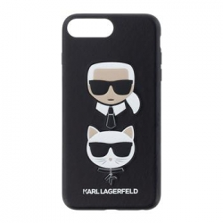 KLHCI8LKICKC Karl Lagerfeld Karl and Choupette Hard Case Black pro iPhone 7/8 Plus