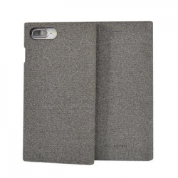 SoSeven Premium Gentleman Book Case Fabric Grey pro iPhone 6/6S/7/8 Plus