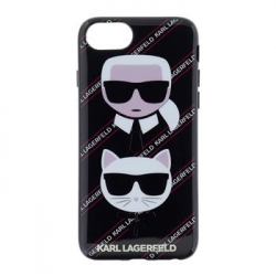 KLHCI8CNVKC Karl Lagerfeld Karl Choupette Canvas TPU Case Black pro iPhone 7/8