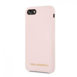 KLHCI8SLLPG Karl Lagerfeld Gold Logo Silicone Case Pink pro iPhone 7/8