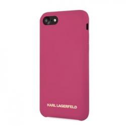 KLHCI8SLROG Karl Lagerfeld Gold Logo Silicone Case Fushia pro iPhone 7/8