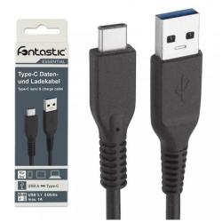 Dátový kábel Fontastic ESSENTIAL, USB-C 3.1, 80 cm, čierny