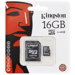 Kingston Micro SDHC 16GB Class 4 + adaptér - SDC4/16GB