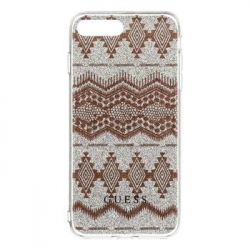 GUHCP7LTGTA Guess Ethnic Chic Tribal 3D TPU Pouzdro Taupe pro iPhone 7 Plus