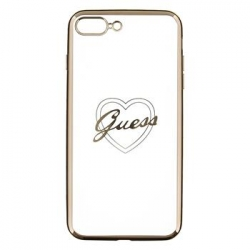 GUHCP7LTRHG Guess Heart TPU Pouzdro Gold pro iPhone 7 Plus