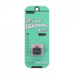 USAMS SJ096 Adapter Lightning/3,5mm- Lightning 2v1 Grey (EU Blister)