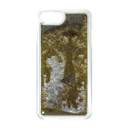GUHCP7LGLUTGO Guess Liquid Glitter Hard Pouzdro Triange Gold pro iPhone 6/6S/7 Plus