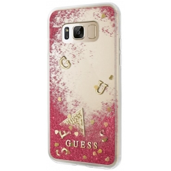 GUHCS8LGLUFLRA Guess Liquid Glitter Hard Case Rapsberry pro Samsung G955 Galaxy S8 Plus