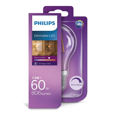 PHILIPS LED Filament 60W E27 WW A60CL ND Dimmable