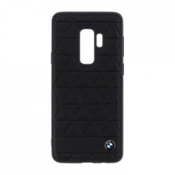 BMHCS9LHEXBK BMW Hexagon Leather Hard Case Black pro Samsung G965 Galaxy S9 Plus