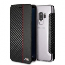 "BMBKTRS9CAPRBK BMW ""M"" Carbon Leather Book Case Black pro Samsung G960 Galaxy S9"