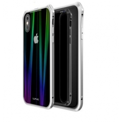 Luphie Aurora Snaps Magnetic Aluminium Hard Case Glass Silver/White pro iPhone XS Max