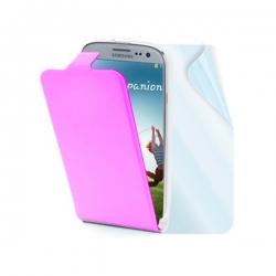 Kožené puzdro flap MUVIT Slim pre Samsung Galaxy S4, ružové + fólia na displej