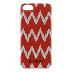 GUHCP7LCGRE Guess Ethnic Chic Chevron 3D TPU Pouzdro Red pro iPhone 7 Plus