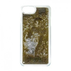 GUHCP7GLUTGO Guess Liquid Glitter Hard Pouzdro Triangle Gold pro iPhone 6/6S/7